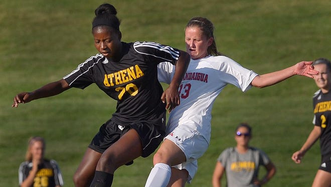 Greece Athena's Waniya Hudson, left, was named All-Monroe County for a second straight year last fall. She had 11 goals and 3 assists.