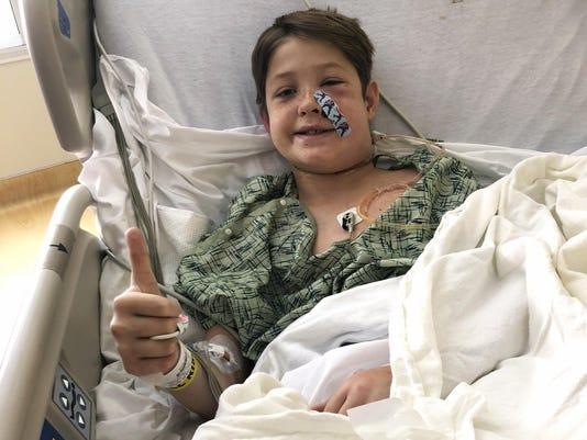 Boy Impaled Meat Skewer