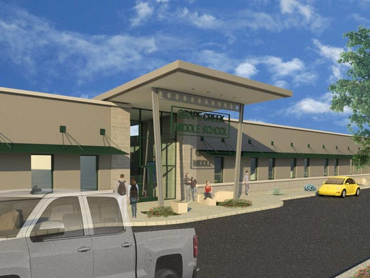 Rendering of the proposed Grape Creek Middle School.