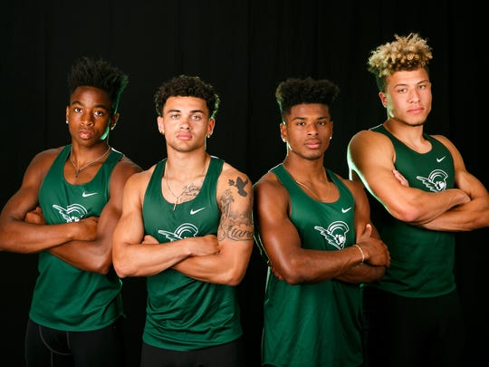 (Left to right) The West Salem High School's boys 4x100 relay team, made up of juniors Jamal McMurrin, Anthony Gould, Stanley Green, and Simon Thompson, is nominated for boys track and field player of the year in the Statesman Journal Mid-valley Sports Awards. Photographed at the Statesman Journal