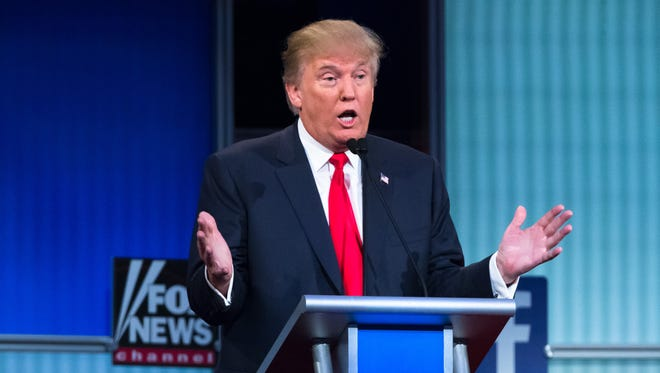 Republican presidential candidate Donald Trump participates in the first Republican presidential debate at the Quicken Loans Arena Aug. 6, 2015, in Cleveland.