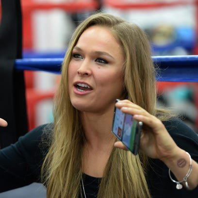 Ronda Rousey talks about her upcoming championship fight during media day for UFC 184 at Glendale Fighting Club.