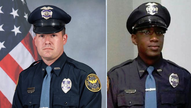 Hattiesburg Police Department patrolmen Benjamin J. Deen, left, and Liquori Tate died Saturday, May 9, 2015, after being shot during a traffic stop.