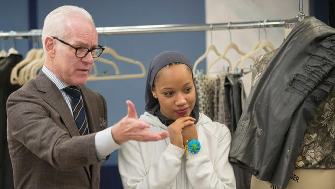 """Project Runway"" host Tim Gunn discusses fashion with MTSU alumna and contestant Ayana Ife during Season 16 of the reality television program. Ife finished as the runner-up."