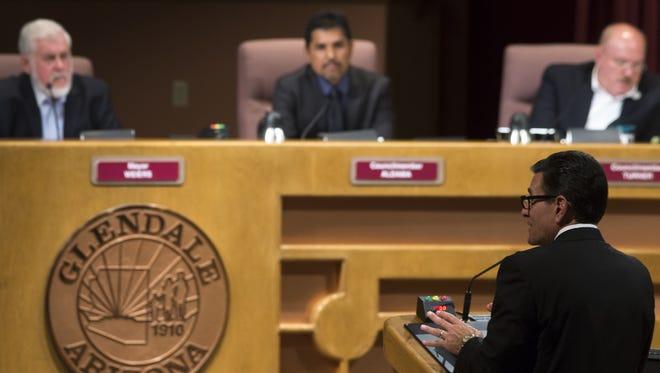 Jerry Weiers, left, seeks a second term as Glendale mayor.