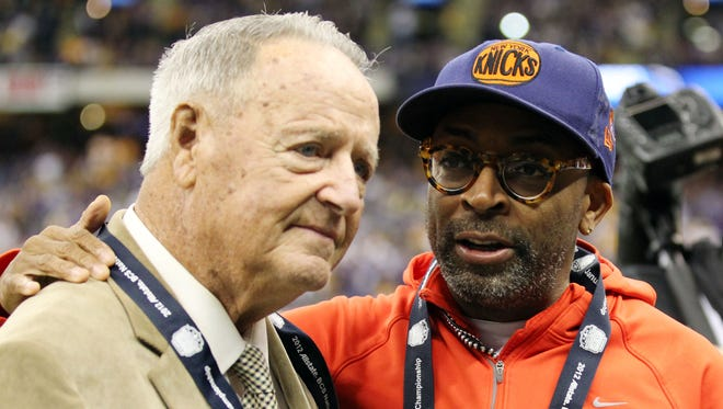 "Former Florida State coach Bobby Bowden (left), speaking with director Spike Lee before the 2012 BCS National Championship game between the LSU Tigers and the Alabama Crimson Tide at the Mercedes-Benz Superdome. Bowden says his former team has been ""underestimated"" entering the 2013 season."