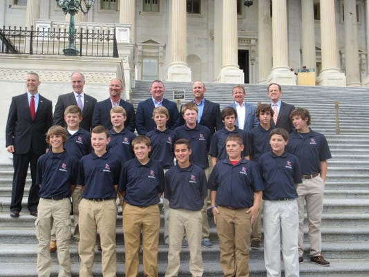 Red Lion Little League received resolutions from the House of Representatives and the Senate and posed for photos with U.S. Rep. Rick Perry, back row left; U.S. Sen. Bob Casey, back row second from left; and U.S. Sen. Pat Toomey, back row right.