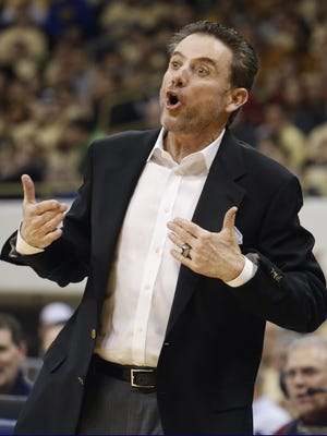 Jan 25, 2015; Pittsburgh, PA, USA; Louisville Cardinals head coach Rick Pitino gestures on the sidelines against the Pittsburgh Panthers during the first half at the Petersen Events Center. Mandatory Credit: Charles LeClaire-USA TODAY Sports