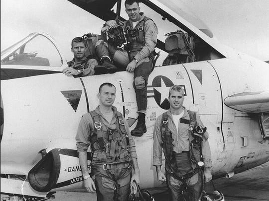 John McCain (front right) with his squadron in 1965.