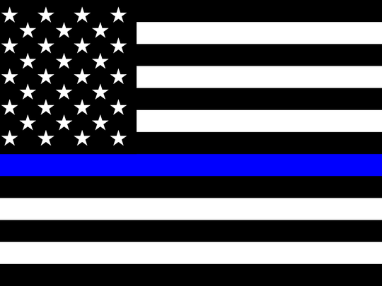 "The ""thin blue line"" flag."