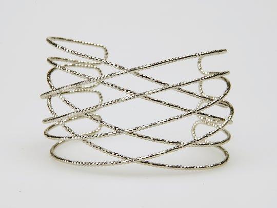 Diamond cut cuff bracelet at Evie.