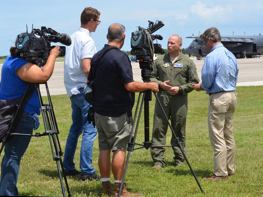 Col. Kurt Matthews, 920th Rescue Wing, Patrick Air Force Base, Florida, interviews with media as a contingent of 91 Citizen Airmen from his wing deployed to Texas to exercise their hurricane relief capabilities. Wing Airmen launched three HH-60G Pave Hawk combat-search-and-rescue helicopters and two combat king HC-130P/N aerial refueling aircraft to Naval Air Station Ft. Worth Joint Reserve Base where Tenth Air Force Headquarters is located. If the Federal Emergency Management Agency or Air Combat Command gives the order to provide disaster relief following Hurricane Harvey's devastating effects to the state, the 920th will be ready to help.