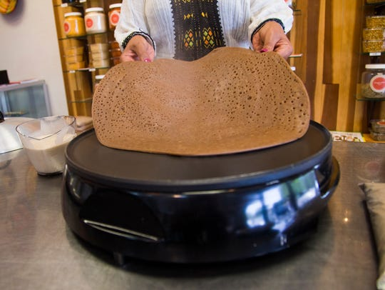 To make injera served at Cafe Lalibela in Tempe, Ariz.,