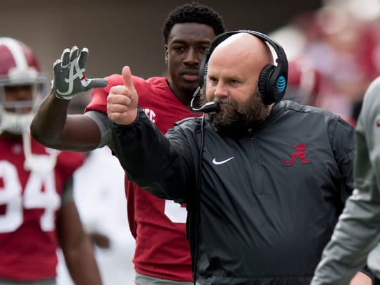 Alabama offensive coordinator Brian Daboll gives a thumbs up after a touchdown against Mercer in first half action at Bryant Denny Stadium in Tuscaloosa, Ala. on Saturday November 18, 2017. (Mickey Welsh / Montgomery Advertiser)
