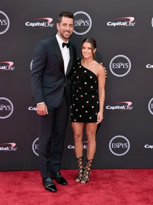 Green Bay Packers quarterback Aaron Rodgers and girlfriend Danica Patrick arrive at the ESPYs at Microsoft Theater in Los Angeles.