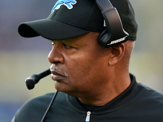 Coach Jim Caldwell walks on the sideline in the second