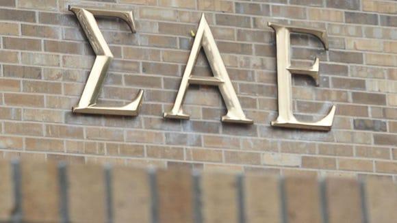 Greek letters decorate the Sigma Alpha Epsilon fraternity house. (Photo: Nick Oxford, AP)