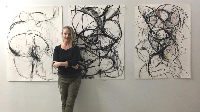 Heidi Lanino, above, in her studio, has a solo show with an opening 4-6 p.m. Jan. 25 in the Mindy Ross Gallery and Foyer, SUNY Orange, Newburgh campus.