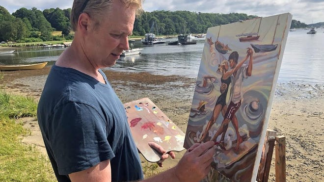 Jason Eldredge, an artist from Cotuit, paints near the water during a past Brush Off Art Auction. This year's auction will be online, but artists will paint around the village through July.