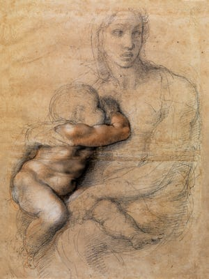 Michelangelo, Madonna and Child, ca. 1524. Black chalk, red chalk, red wash, white heightening and ink. Florence, Casa Buonarroti.