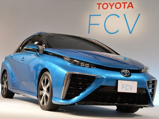 The Toyota hydrogen fuel cell vehicle (FCV) at its press preview in June at a Toyota Motor showroom in Japan, where the car will go on sale in 2015.