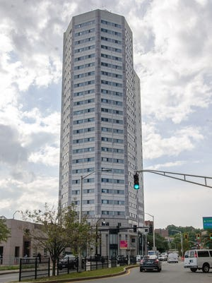 The Skymark Tower at Main and Austin streets is undergoing renovations.