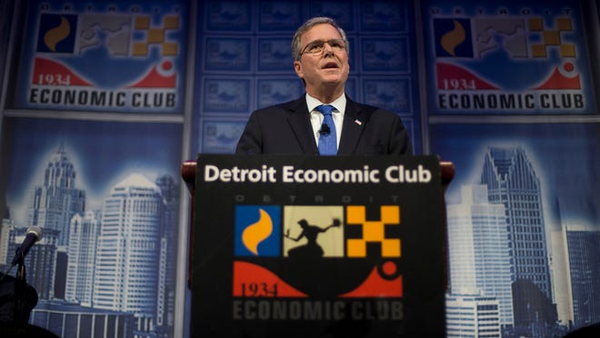 Former Florida Gov. Jeb Bush speaks at a Economic Club of Detroit meeting earlier this month as part of his Right to Rise tour. That's also the name of his political action committee, which has donated thousands to key GOP players in early primary states.