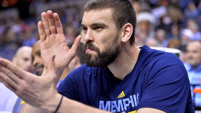 Jan. 28, 2016 -- Memphis Grizzlies center Marc Gasol claps from the bench during the second half of an NBA game in Memphis.