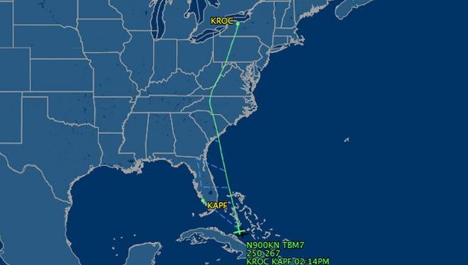 The flight of the unresponsive plane, according to flightaware.com