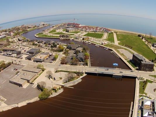 Sheboygan aerial downtown harbor.JPG