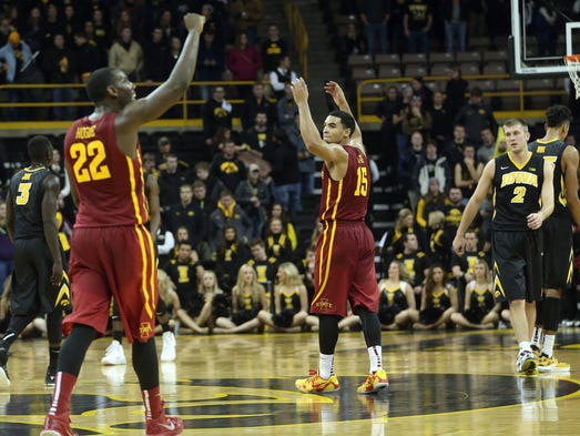 Iowa State's Dustin Hogue (22) and Naz Long celebrate