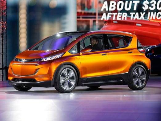 General Motors CEO Mary Barra unveils the Chevy Bolt