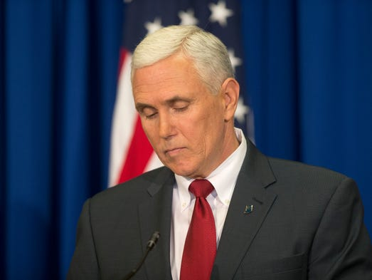 Indiana Gov. Mike Pence addresses the media about changes