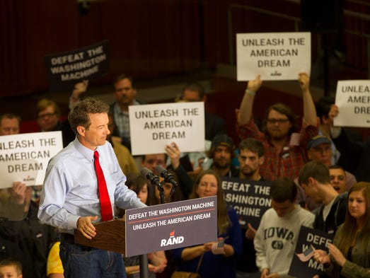 Presidential candidate Rand Paul speaks to guests at