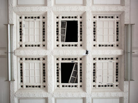 The ceiling in the main room of the former Detroit