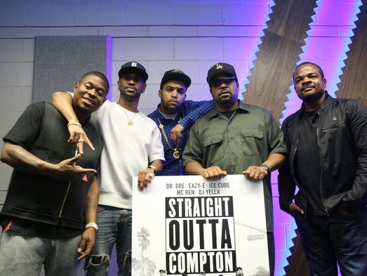 The cast of the film, 'Straight Outta Compton,' from