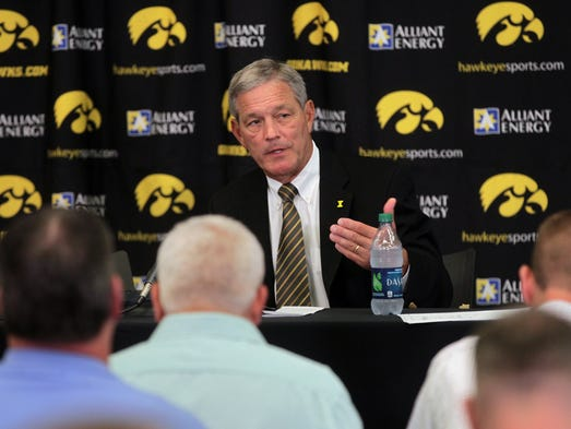 Iowa head coach Kirk Ferentz speaks about the Hawkeyes'