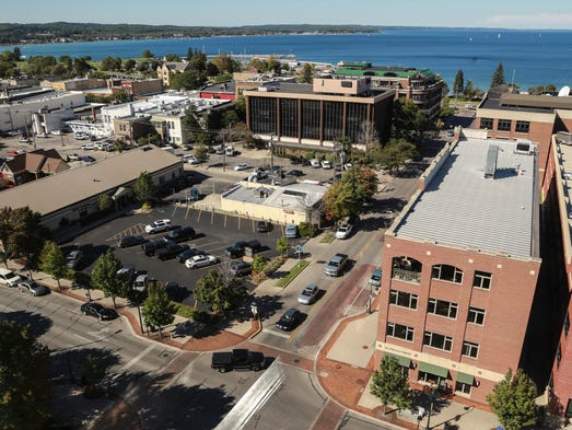 A view of downtown Traverse City from Park Place Hotel