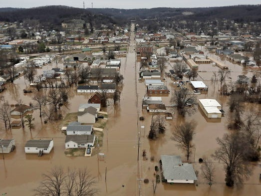 Flooded homes in Pacific, Mo. after torrential rains