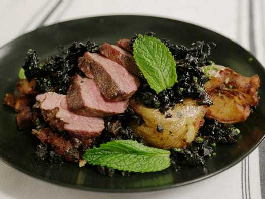 The milk-braised lamb with black trumpet mushrooms,