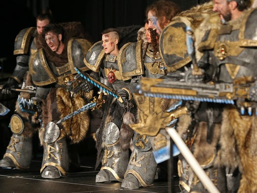 A group dressed as the Wolfguard Squad from Warhammer