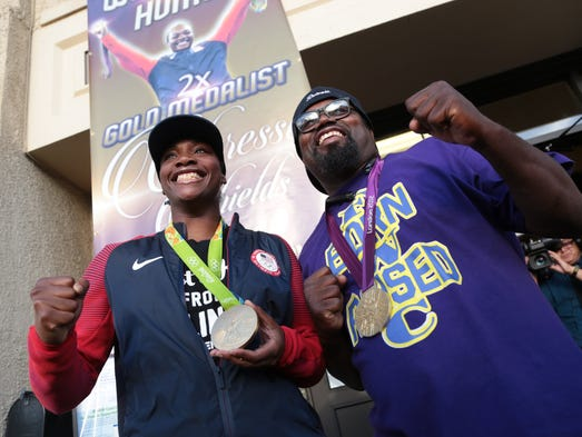 Olympic gold medalist Claressa Shields poses for a