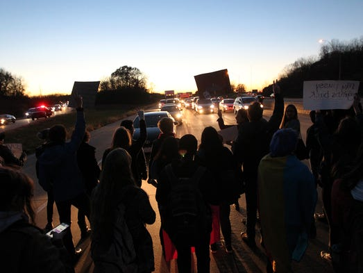 Protesters block traffic on Interstate 80 on Friday,