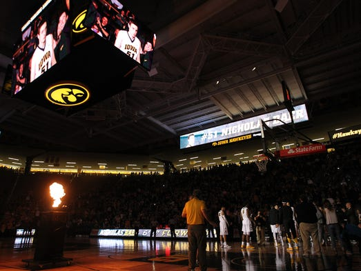 Iowa players are introduced prior to the Hawkeyes'