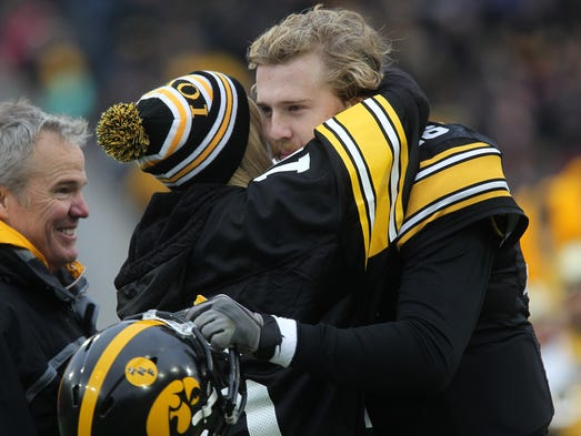 Iowa senior C.J. Beathard is honored prior to the Hawkeyes'