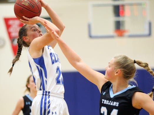 Clear Creek Amana's Karsyn Stratton takes a shot during