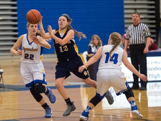 Waynesboro's defense Catharine Weber (22) and Elizabeth