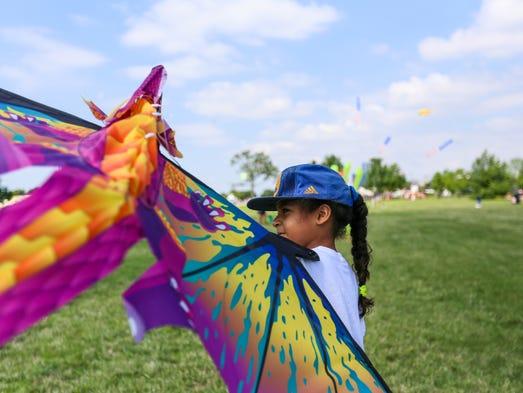 Saniya Jackson, 9, of Detroit came to fly her kite
