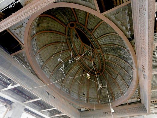 An ornamental skylight on the third floor of the Book