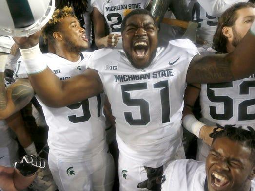 Michigan State #51 Kyonta Stallworth celebrates with